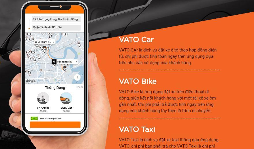 Các dịch vụ ứng dụng đặt xe Phương Trang VATO hiện đang khai thác