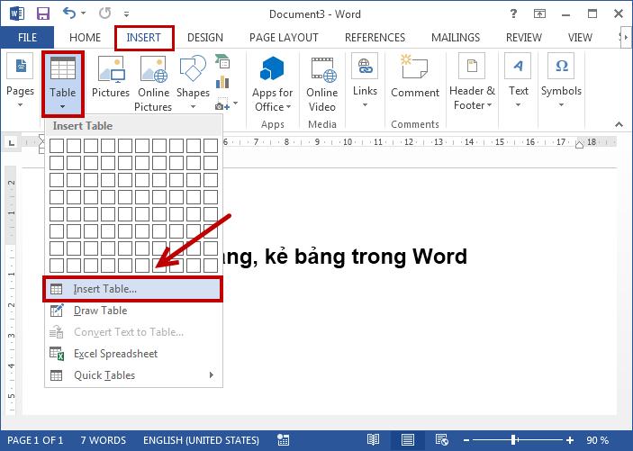 cách tạo bảng trong word 2010