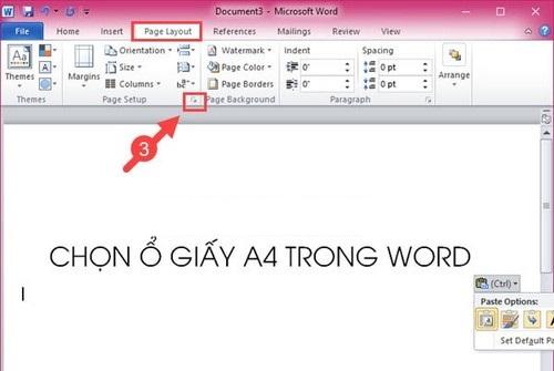 định dạng khổ giấy a4 trong word 2010