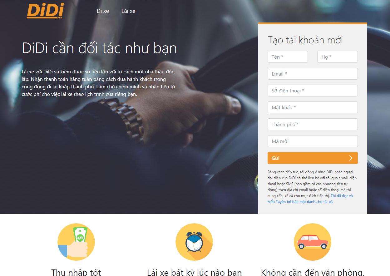 Ứng dụng gọi xe DiDi Việt Nam
